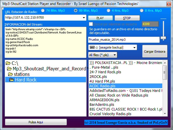 Mp3-Shoutcast Station Player and Recorder
