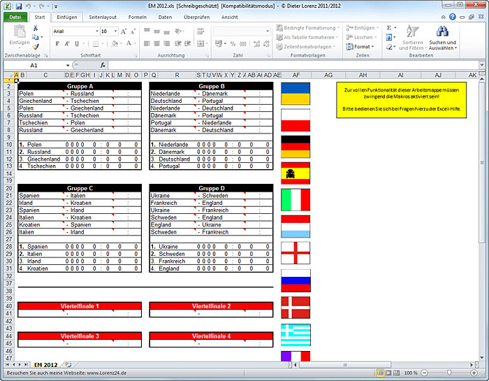 Excel FuГџball Tabelle