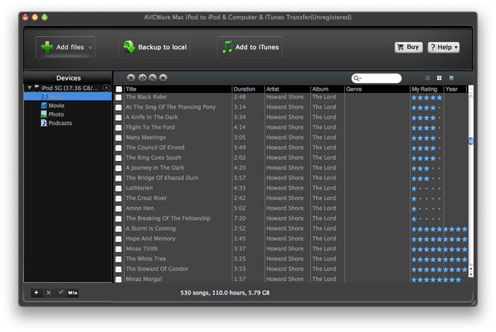 AVCWare iPod to iPod/Mac/iTunes Transfer