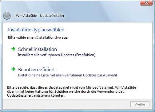 WinVistaSide UpdateInstaller für Windows 7