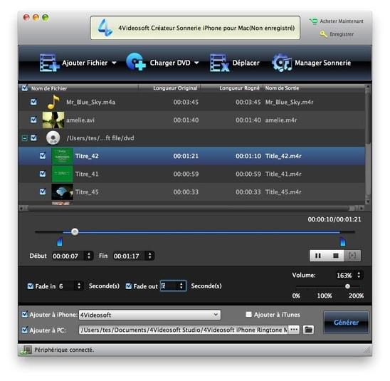 4Videosoft Créateur Sonnerie iPhone pour Mac