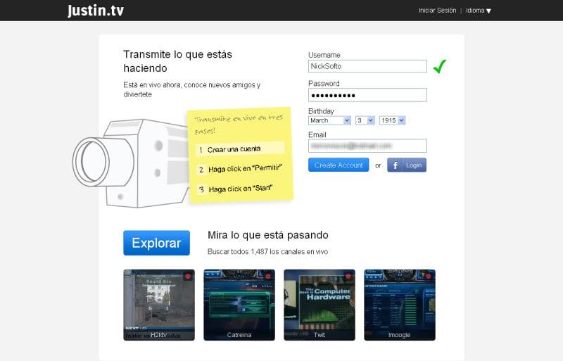 Justin.tv: En vivo y en directo, desde tu ordenador