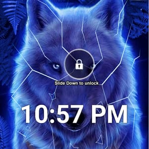 Blue Neon Wolf Lock Screen