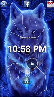 Blue Neon Wolf Lock Screen