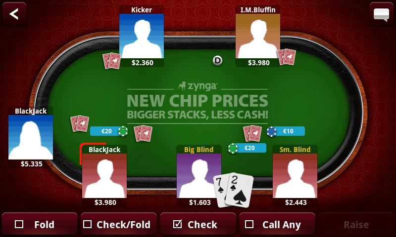 Zynga poker on android phone