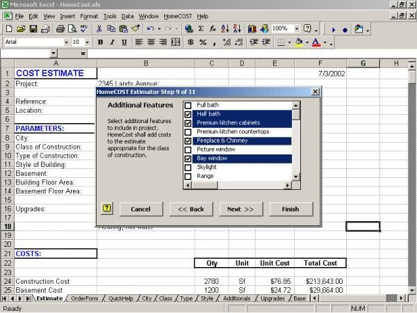 HomeCOST Estimator for Excel
