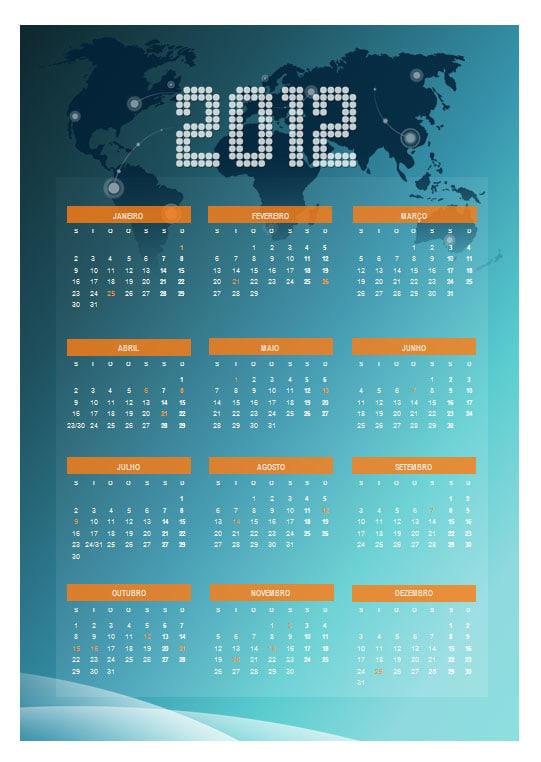 Calendário 2012 Anual