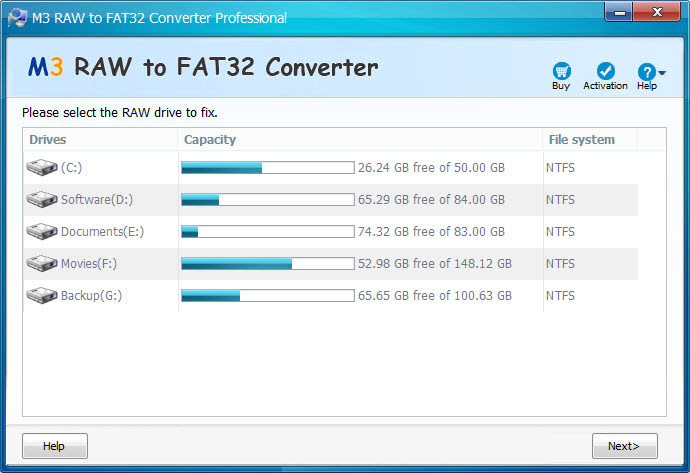 M3 RAW to FAT32 Converter