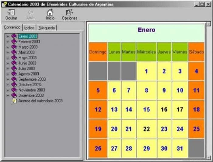 Calendario 2003 de Efemérides Culturales de Argentina
