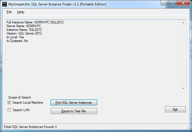 MySimpleUtils SQL Server Instance Finder Portable