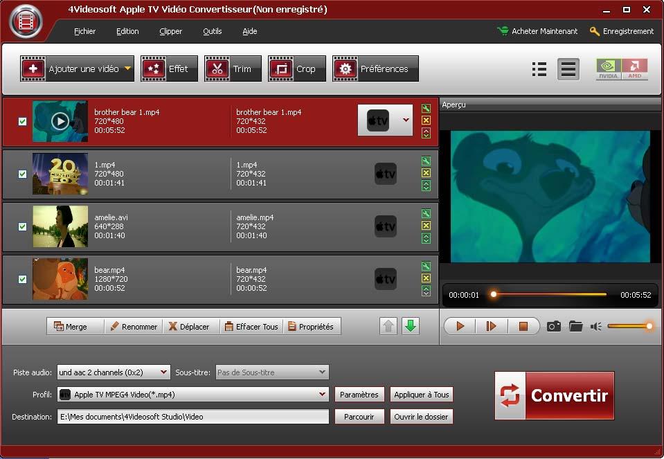 4Videosoft Apple TV Vidéo Convertisseur