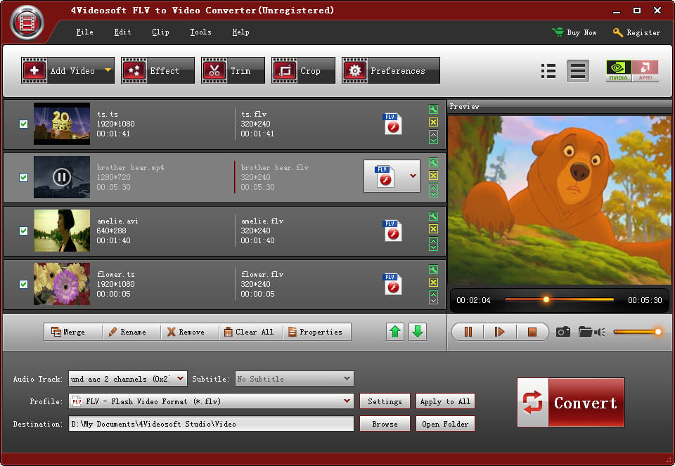 4Videosoft FLV to Video Converter