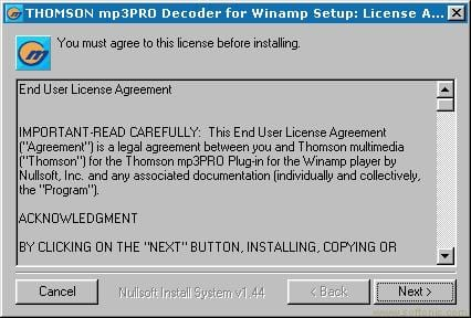 THOMSON mp3PRO Decoder Plug-in for WinAmp