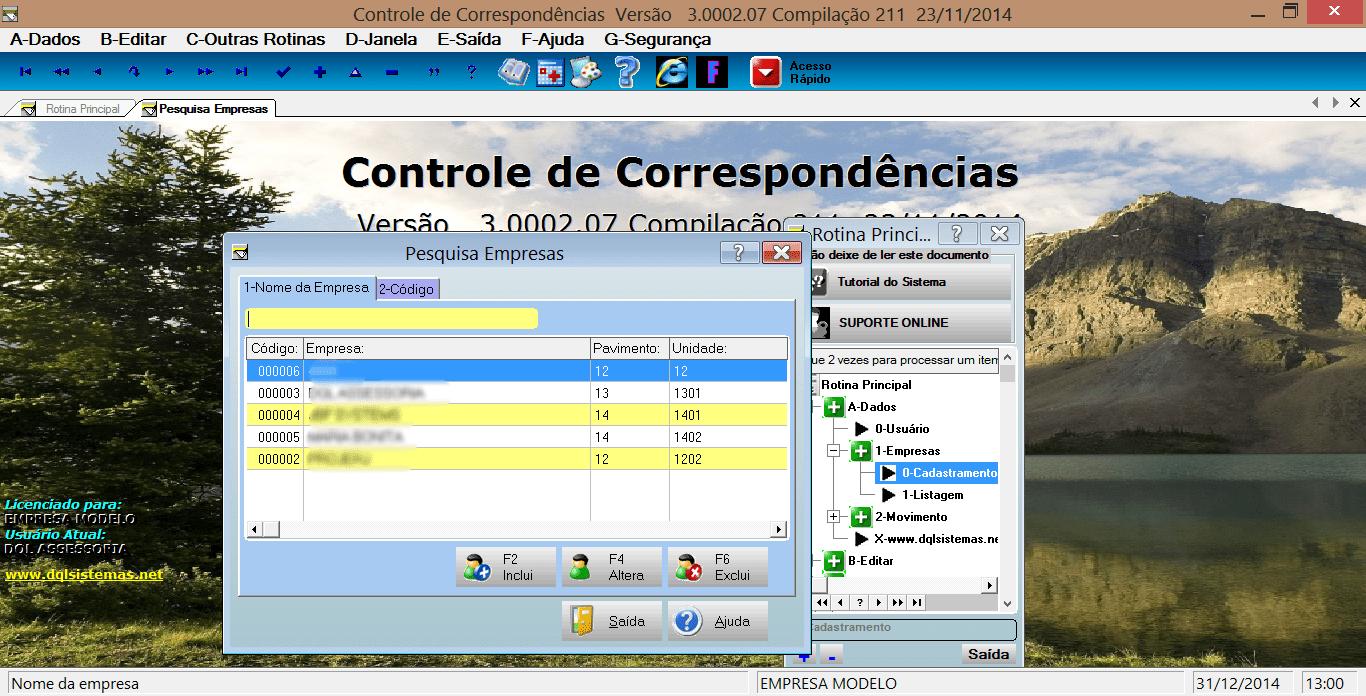 Controle de correspondências-DQL