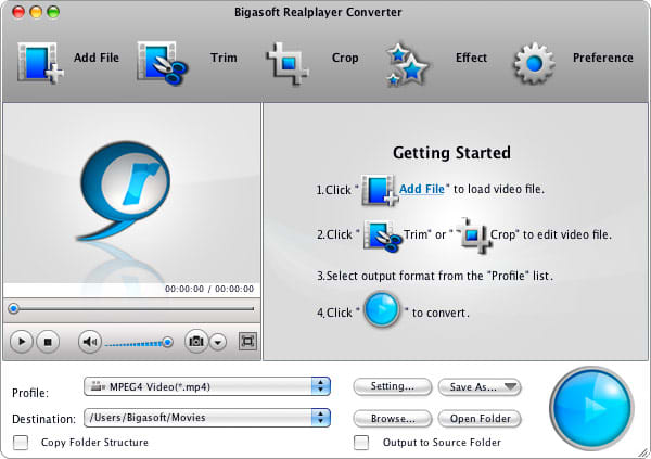 Bigasoft RealPlayer Converter for Mac