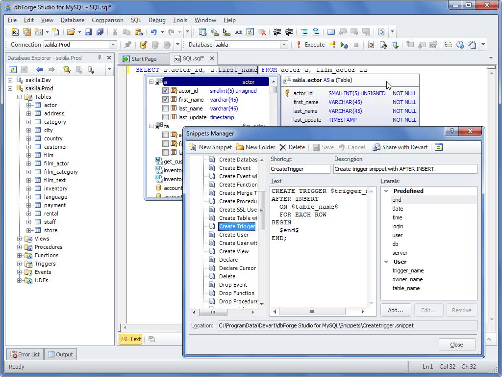 dbForge Studio for MySQL Professional