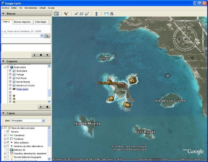 Piratas do Caribe no Google Earth