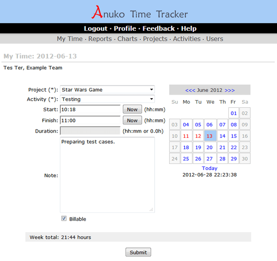 Anuko Time Tracker
