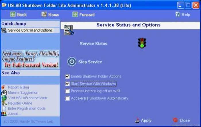 HSLAB Shutdown Folder