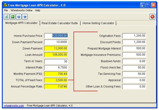 Free Mortgage Loan APR Calculator
