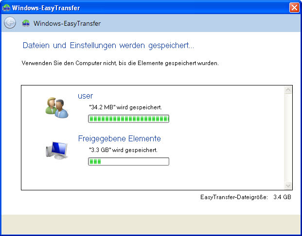 Windows-EasyTransfer für die Übertragung von Windows XP nach Windows 7