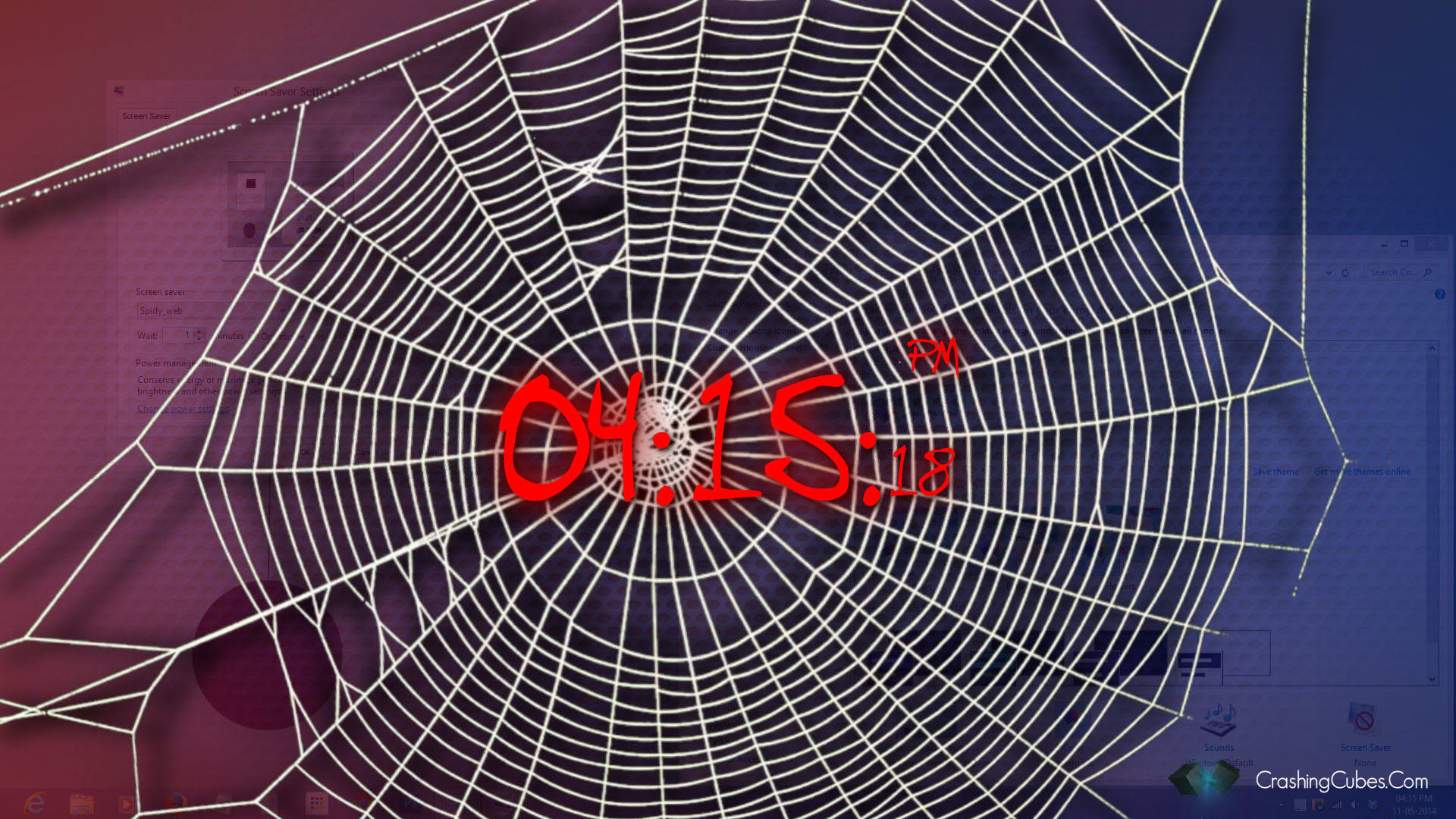 Spidy Web ScreenSaver Clock