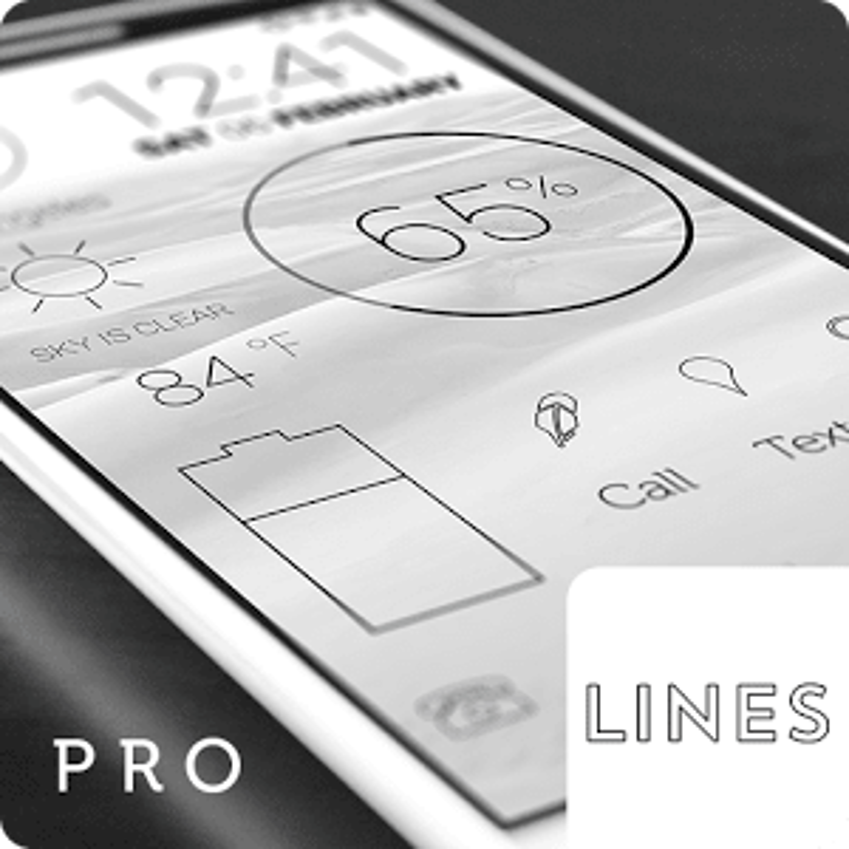 Lines Dark Flat Black Icons Pro Version 2.8.6