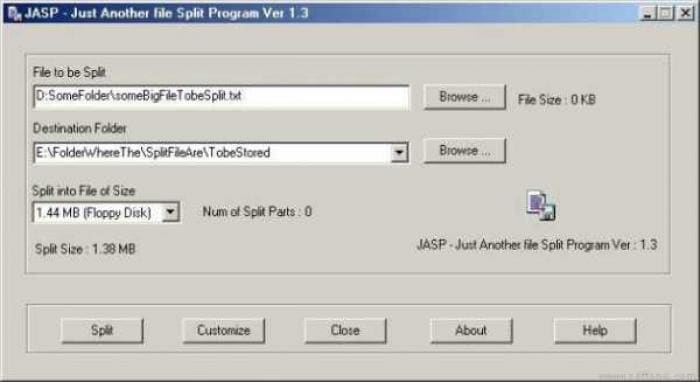 JASP (Just Another file Split Program)