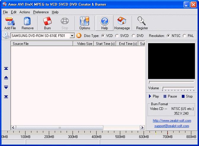 Amor AVI DivX MPEG to VCD SVCD DVD Creator & Burner