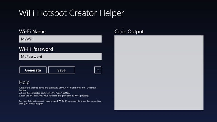 WiFi Hotspot Creator Helper for Windows 10