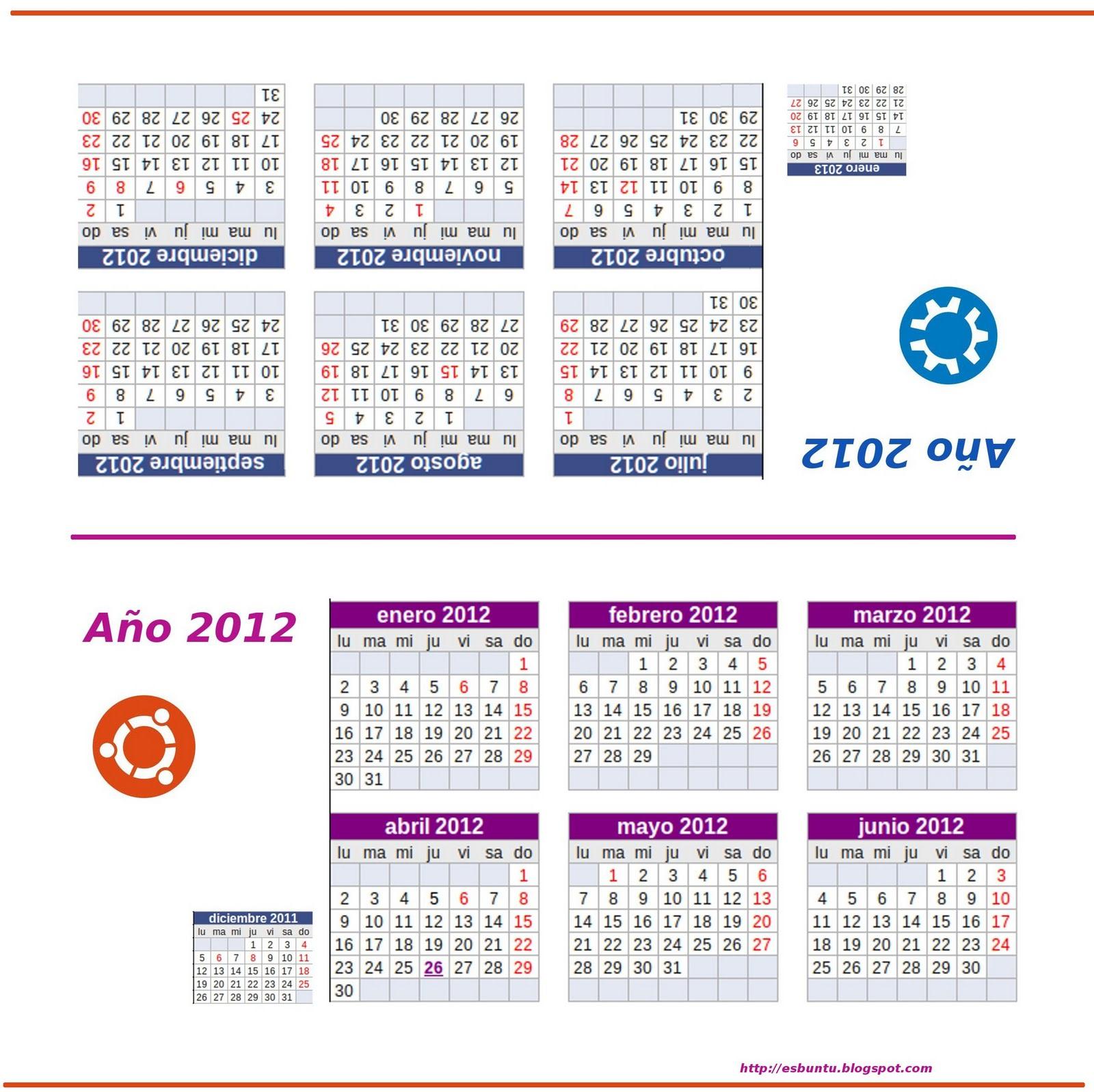 Calendario Ubuntu 2012