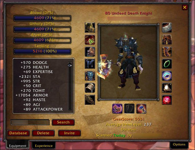 Playerscore add-on (Gearscore) para World of Warcraft 4.10.00