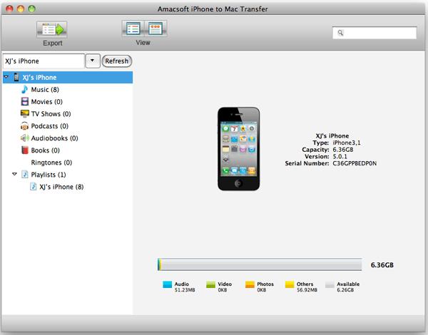Amacsoft iPhone to Mac Transfer