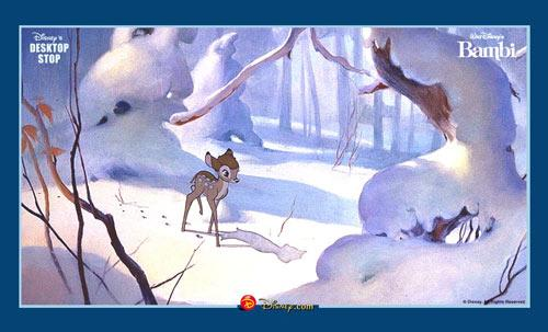 Wallpaper Bambi im Schnee