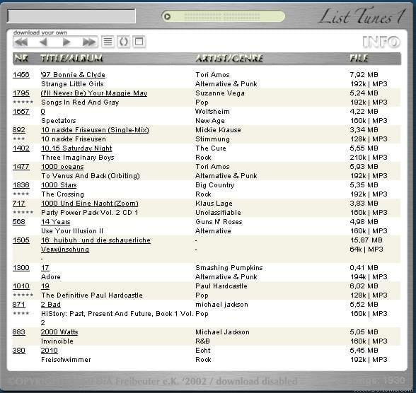 List Tunes