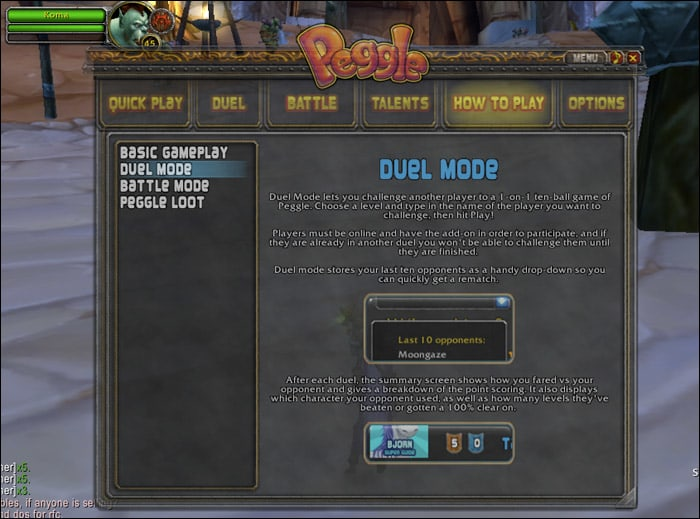 Peggle Add-on for WoW