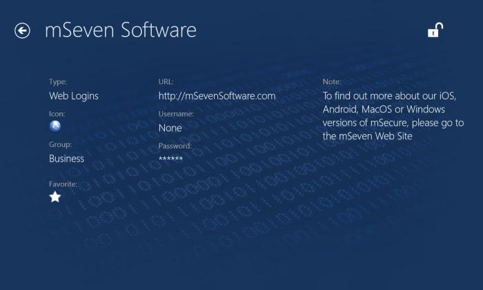 mSecure für Windows 10