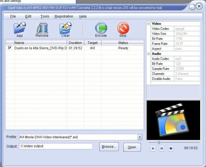 Opell Video to AVI MPEG MOV RM SWF FLV WMV Converter