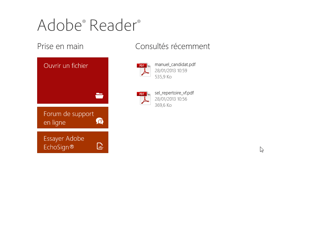 Adobe Reader Touch pour Windows 10