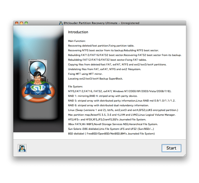 BYclouder Partition Recovery Ultimate for Mac