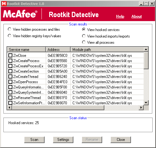 McAfee Rootkit Detective