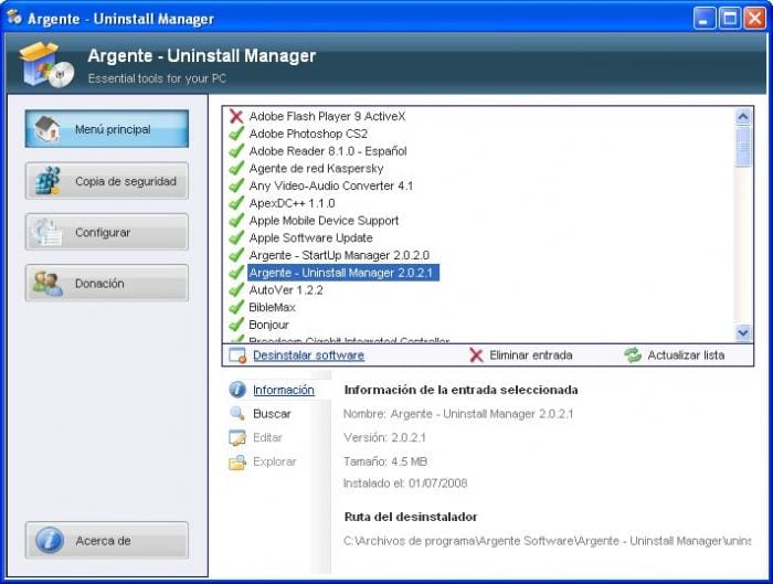 Argente - Uninstall Manager