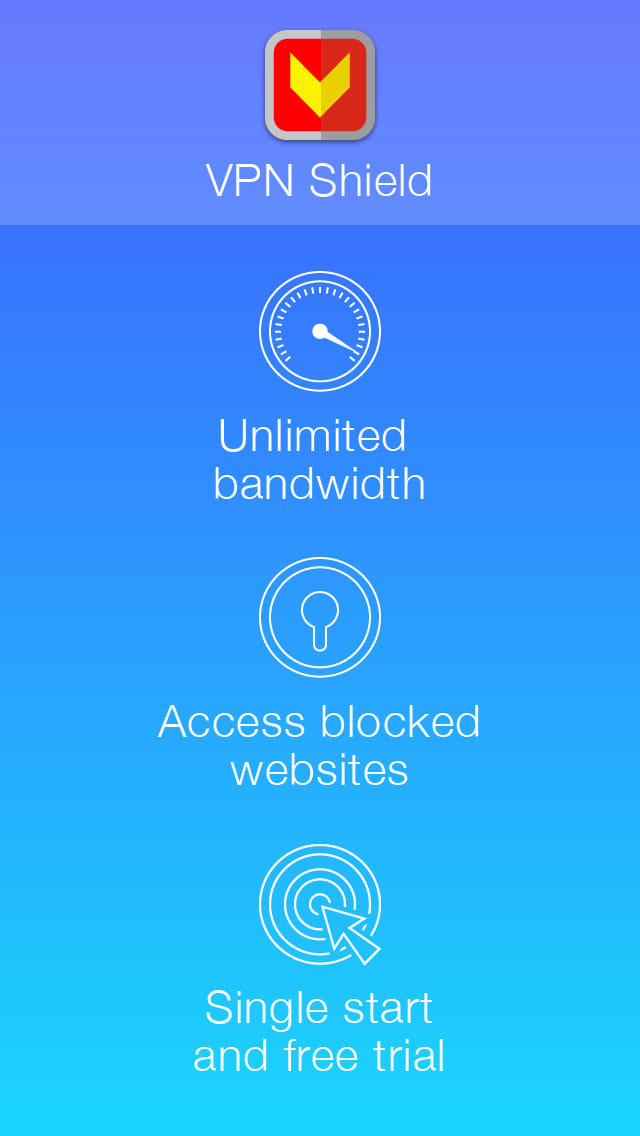 VPN Shield with Free Trial - Anonymous and Secure Proxy Connection for Unlimited Private Internet Access and Unblock Web Sites