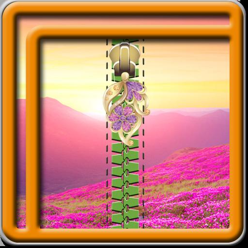 Zipper Lock Screen Flowers
