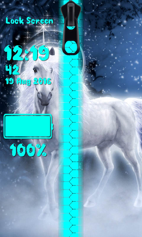 Unicorn Zipper Lock Screen