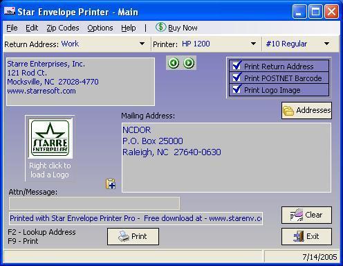Star Envelope Printer