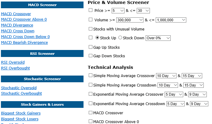 Technical Stock Screener