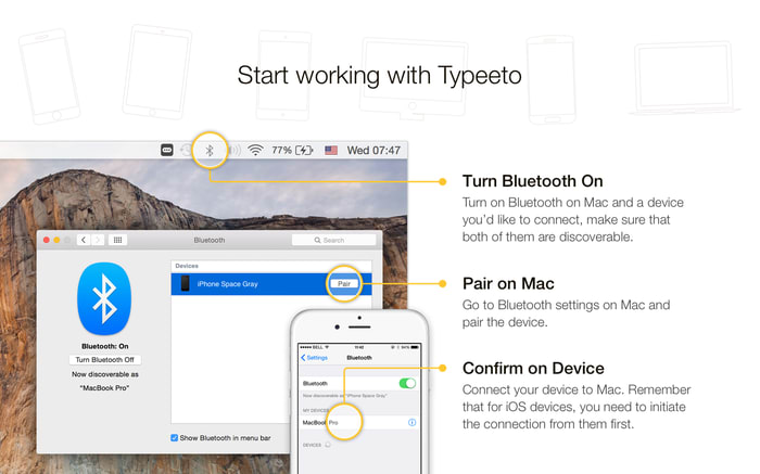 Typeeto: remote full size bluetooth keyboard
