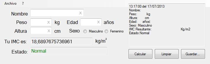 IMC(Indice de Masa Corporal)