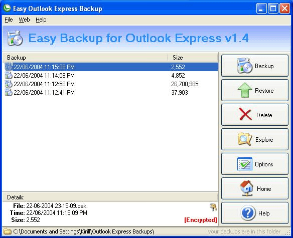 Easy Backup for Outlook Express
